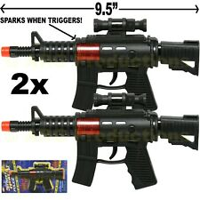 SET OF 2 - TOY POLICE ASSAULT PISTOL MACHINE GUN INCLUDES SOUND AND SPARKS