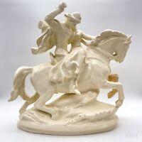 Antike Porzellanfigur Pferd mit Reiter auf Podest - Porzellan, Figur Weiß 33cm