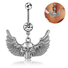 JN_ Women's Wings Skull Rhinestone Body Piercing Belly Ring Button Navel Barbe