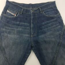 Diesel Mens Jeans W35 L32 Dark Wash Relaxed Fit Wide Leg Low Crotch Zip Cotton