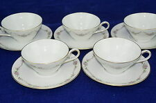 """K & A Krautheim-Pink Roses-Gold Trim Lot of (5) Cups 2"""" & (5) Saucers 6"""""""
