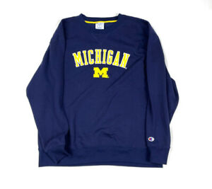 Champion Blue Michigan Wolverines Embroidered Pullover Sweatshirt Football XL