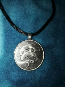 Genuine Foreign Coin Dolphin Pendant Necklace