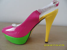 Brand New Ladies Multi-Coloured Block Sling Back Heels - Size 4