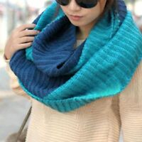Long Collar Mittens Scarves Knitted Thick Winter Scarf 2 Mixed Colors Women