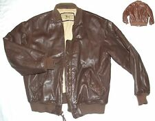 VTG Georges Marciano for GUESS Leather Bomber Style Jacket Brown Size M VGC