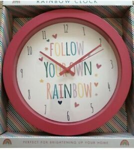 Girls Rainbow Wall Clock