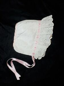 Vintage Baby Bonnet Hat White Embroidered Eyelet Lace Pink Ribbon Cotton 3-6 M