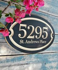 """15""""x 9.25"""" Oval House Number Engraved Plaque, MDF polyurethane finish"""