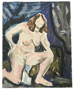 SHIMSHON HOLZMAN (JEWISH, 1907-1986) NUDE WOMAN JUDAICA OIL ON BOARD