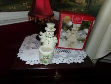 LENOX SNOWMAN TEA LIGHT HOLDER NIB GOLD GILT LIMITED