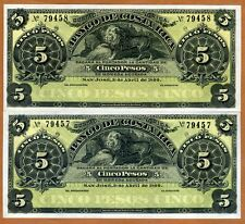 LOT Costa Rica, 2 x 5 Pesos, 1899, P-S163r, Consecutive Numbers UNC > Lion