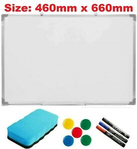 MAGNETIC WHITEBOARD DRY WIPE DRAWING WHITE BOARD OFFICE SCHOOL HOME 460MM x660MM