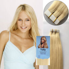 Seamless Tape in Skin Weft Remy Human Hair Extensions Light Blonde 18inch20Pcs7A