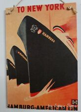 New York Hamburg Shipping Vintage Retro Advertising Travel Poster on Wood Sign