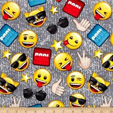 Cool Guy Emoji Toss Grey Yellow 100% Cotton Fabric by the Yard