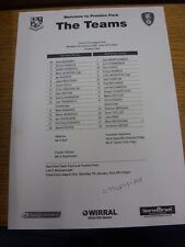 02/01/2006 Teamsheet: Tranmere Rovers v Rotherham United (folded, writing). Than