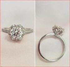 2Ct Round Cut Moissanite Flower Halo Engagement Wedding Ring 14K White Gold Over