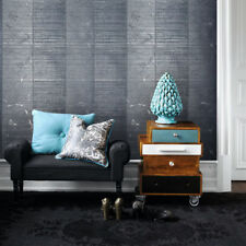 Wallpaper roll Gray Blue Metallic Textured Striped Modern stripes Wall coverings