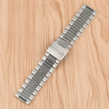 Men 22mm Silver Stainless Steel Bracelet Strap Replacement Band Straight End