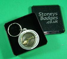 PISTOL SHOOTING English Pewter Keyring  FREE UK POST Gun Target Sport Key Ring