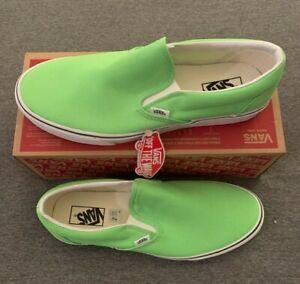 Vans Classic Slip on Shoes Gecko Green True White Men's 11.5