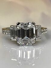 Emerald Cut with Accents Engagement Ring 3.75 ctw 14K White Gold #4660