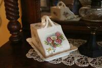 """Antique Large Ceramic Cheese Dish with Handle, 9"""" Vintage Porcelain Covered Dish"""