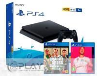 PS4 Slim 1Tb Negra Playstation 4 Consola + FIFA 20 + GTA V Premium Edition