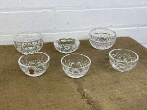 Lot of 6 Irish Waterford Crystal Cut Glass Pin Sweet Dishes Bowls Ashtray Etc
