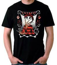 Camiseta Hombre Jack Skellington Freddy Krueger funny t-shirt manga corta