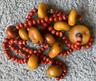 Antique Old Tibetan Natural Amber Red Aka Coral Bead Beaded Necklace Jewelry