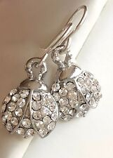 Silver Crystal Ladybug Earrings Dangle Plated Insect Bug Sparkly USA Seller