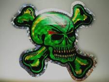 Totenkopf grüner Glitzer Aufkleber 1970er Jahre UHW Sticker 18cm x 18cm