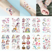 10Sheet Temporary Glitter Tattoos Stickers Party Bags Unicorn Princess Girls Fun
