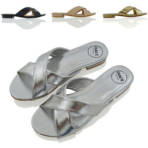 Womens Slip On Sandals Flat Slider Ladies Casual Formal Cross Over Summer Shoes