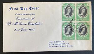 1953 Lagos Nigeria First Day Cover Queen Elizabeth 2 coronation Block To Canada