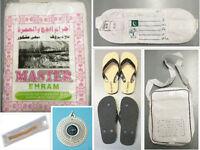 6 Piece Hajj Umrah Set Value Ihram Bag Slippers Miswak Compass Belt Set Mens New