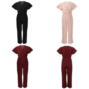 Girls Stylish Solid Color Jumpsuit Kids V Neckline Elastic Waistband Bodysuits