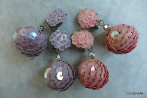 "2 Pairs Pink/Purple Vintage Beaded iridescent Sequin Clip-On Bon-Bon  2"" Earring"