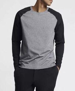 Nike Sportswear NSW Bonded Long Sleeve Crew Shirt Gray Black 832206 091 Mens XL