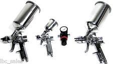 4 PC HVLP AIR SPRAY GUN & REGULATOR 0.8-1.4-1.7 MM TIPS