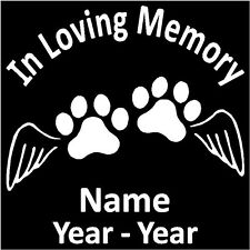 "In Loving Memory 2 Paw Prints w/Wings Decal Pers 5.5""H"
