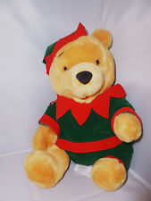 "Disney Winnie The Pooh 15"" Plush Stuffed Toy Seasons Greetings Elf Costume"