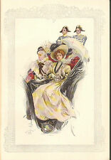 Harrison Fisher Girl, In Horse, Coach, Parasol, Vintage, 1908 Antique Art Print,