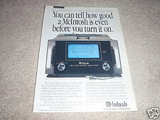 McIntosh MC1000 Power Amp Ad from 1992, 1 page, ready to frame