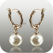 18k rose gold pearl stud huggies dangle wedding bridesmaid bride earrings