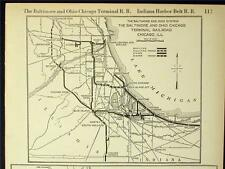 1921 BALTIMORE & OHIO CHICAGO TERMINAL RAILROAD SYSTEM MAP DEPOTS + IHB IL RR