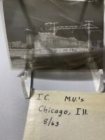 Black&White negative film train Illinois Central  M. V Railroad side view 8/1963