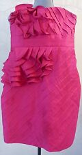 Fuschia Pink PHOEBE COUTURE Strapless Ruffled Cocktail Mini Dress, Size 0